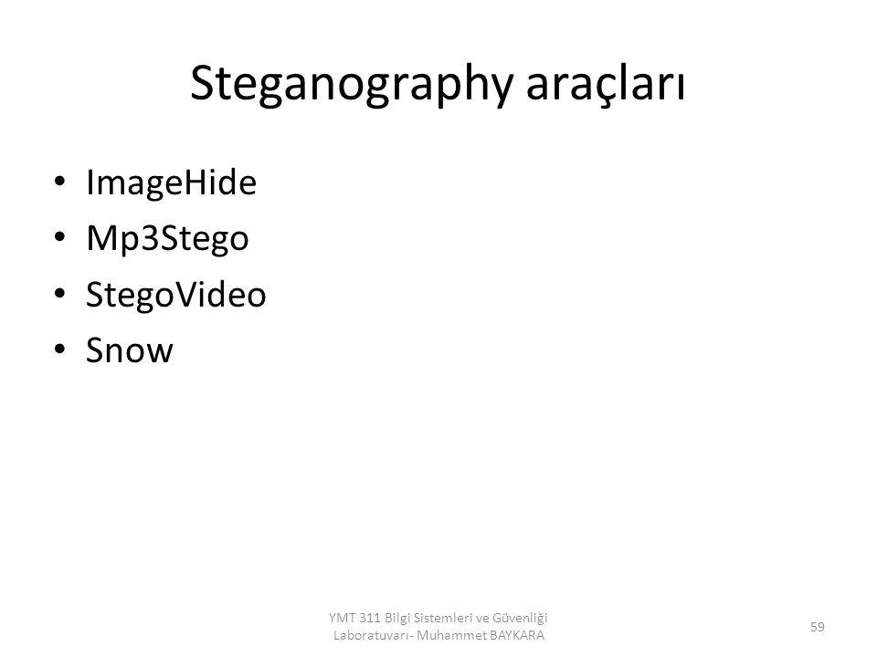 Steganography araçları ImageHide Mp3Stego StegoVideo Snow YMT 311 Bilgi Sistemleri ve Güvenliği Laboratuvarı- Muhammet BAYKARA 59