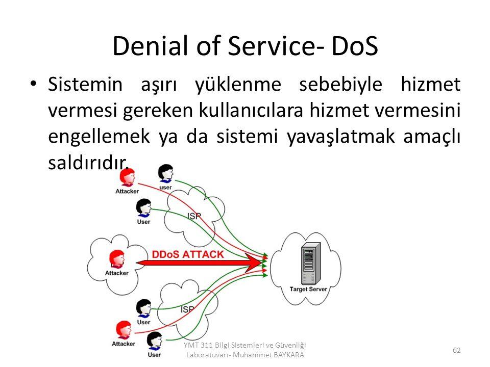 Denial of Service- DoS Sistemin aşırı yüklenme sebebiyle hizmet vermesi gereken kullanıcılara hizmet vermesini engellemek ya da sistemi yavaşlatmak amaçlı saldırıdır.
