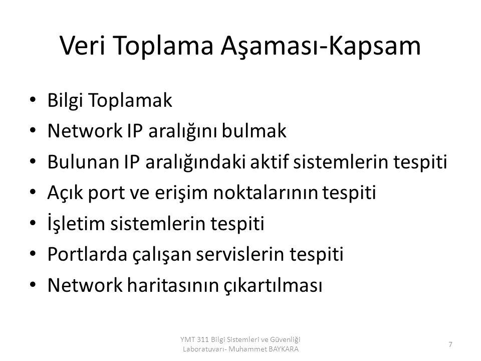 Veri Toplama Aşaması-Kapsam Bilgi Toplamak Network IP aralığını bulmak Bulunan IP aralığındaki aktif sistemlerin tespiti Açık port ve erişim noktalarının tespiti İşletim sistemlerin tespiti Portlarda çalışan servislerin tespiti Network haritasının çıkartılması YMT 311 Bilgi Sistemleri ve Güvenliği Laboratuvarı- Muhammet BAYKARA 7