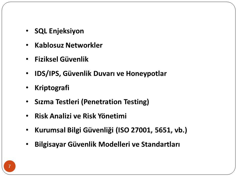8 ARAŞTIRMA VE UYGULAMA PROJE KONULARINDAN BAZILARI Sızma Testleri SQL Enjeksiyonu XSS ve XSRF Open Source Yazılımlarda Güvenlik Uygulamaları Casus Yazılımlar Güvenli Yazılım Geliştirme Güvenlik Standartları Internet Bankacılığında Güvenlik Uygulamaları Mobil Ortamlarda Güvenlik Açıkları Mobil Teknoloji Güvenlik Açıkları Elektronik İmza Saldırı Tespit Sistemi Geliştirme (IDS/IPS) Açıklık Tarayıcı Yazılım Geliştirme Sızma Test Yazılımı Geliştirme Veri Şifreleme Algoritması Geliştirme