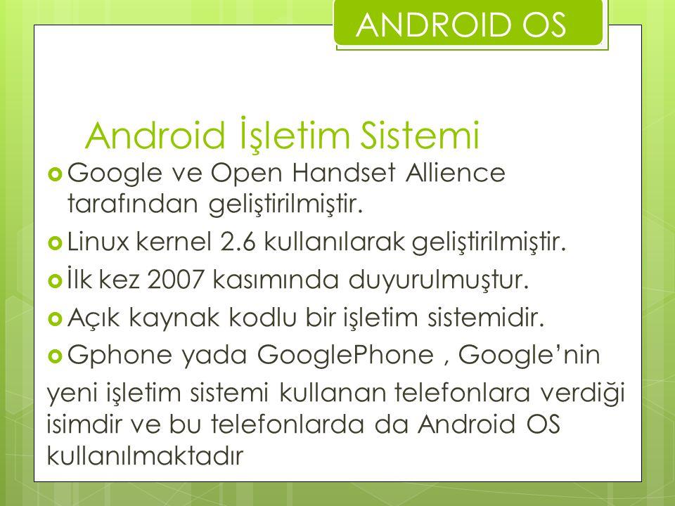 Android İşletim Sistemi  Google ve Open Handset Allience tarafından geliştirilmiştir.  Linux kernel 2.6 kullanılarak geliştirilmiştir.  İlk kez 200