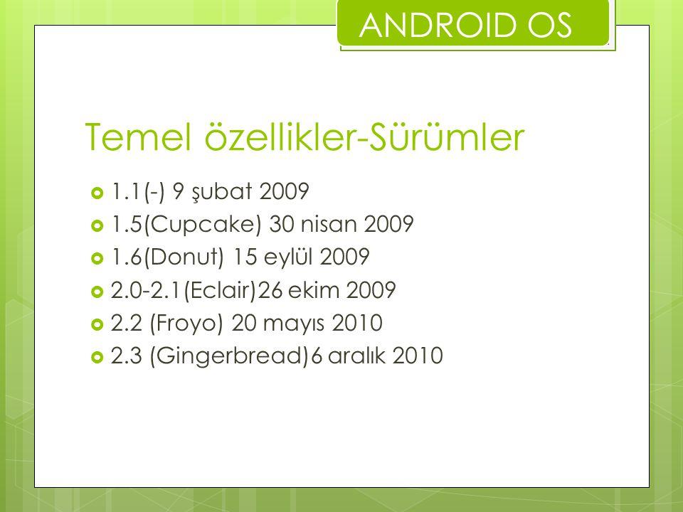 Temel özellikler-Sürümler  1.1(-) 9 şubat 2009  1.5(Cupcake) 30 nisan 2009  1.6(Donut) 15 eylül 2009  2.0-2.1(Eclair)26 ekim 2009  2.2 (Froyo) 20