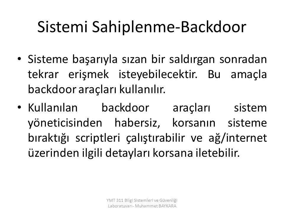 Sistemi Sahiplenme-Backdoor Sisteme başarıyla sızan bir saldırgan sonradan tekrar erişmek isteyebilecektir. Bu amaçla backdoor araçları kullanılır. Ku