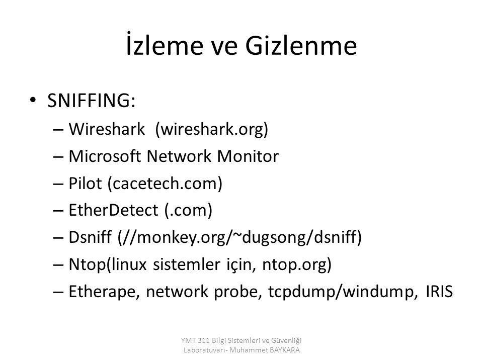 İzleme ve Gizlenme SNIFFING: – Wireshark (wireshark.org) – Microsoft Network Monitor – Pilot (cacetech.com) – EtherDetect (.com) – Dsniff (//monkey.or