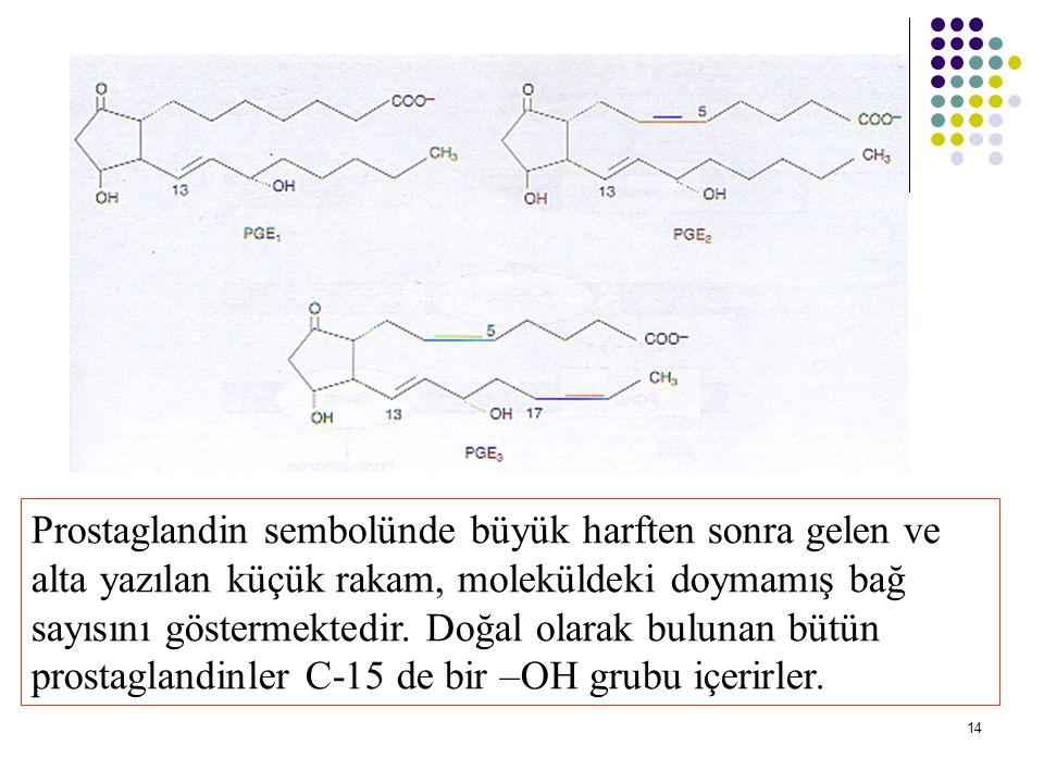 14 Prostaglandin sembolünde büyük harften sonra gelen ve alta yazılan küçük rakam, moleküldeki doymamış bağ sayısını göstermektedir.