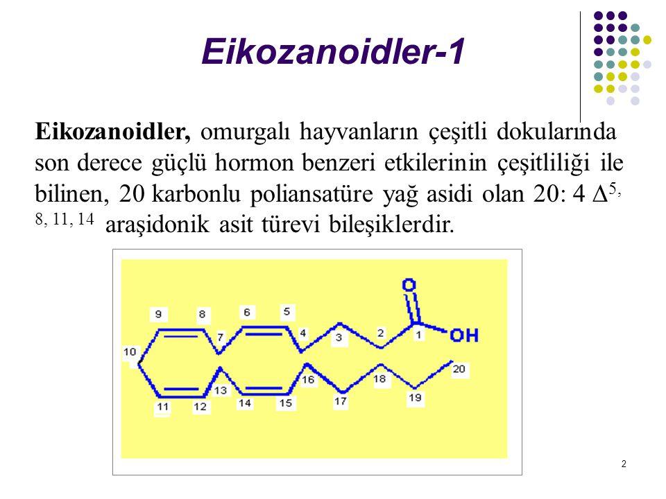 2 Eikozanoidler-1 Eikozanoidler, omurgalı hayvanların çeşitli dokularında son derece güçlü hormon benzeri etkilerinin çeşitliliği ile bilinen, 20 karbonlu poliansatüre yağ asidi olan 20: 4  5, 8, 11, 14 araşidonik asit türevi bileşiklerdir.