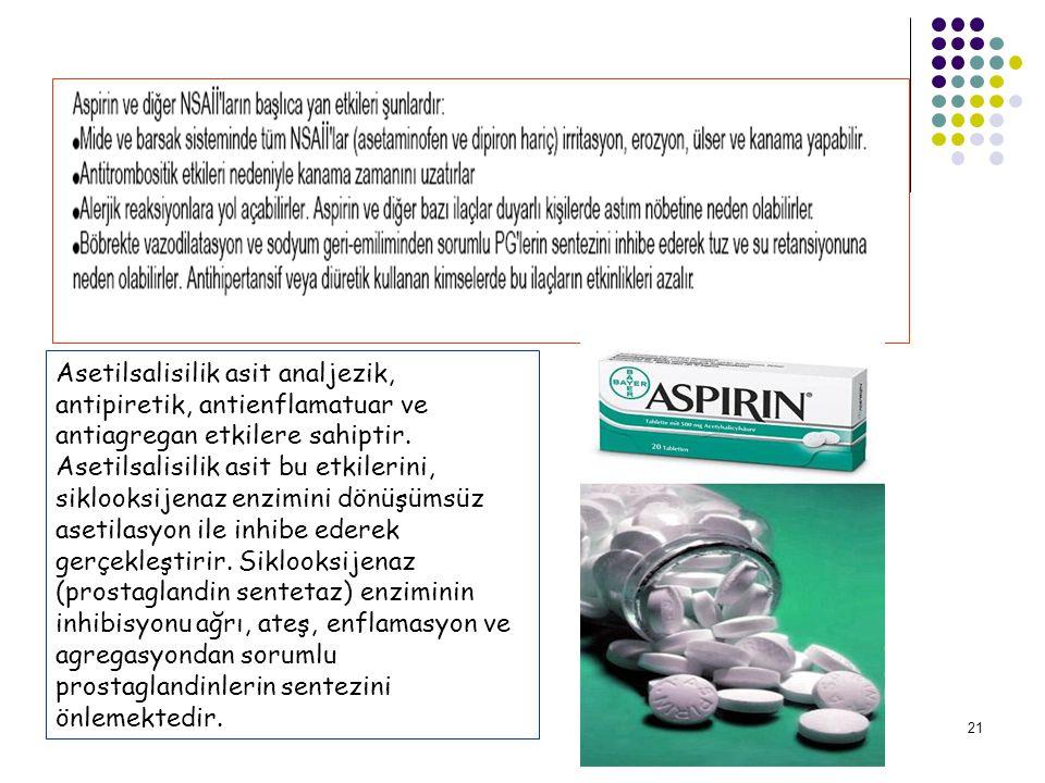 21 Asetilsalisilik asit analjezik, antipiretik, antienflamatuar ve antiagregan etkilere sahiptir.