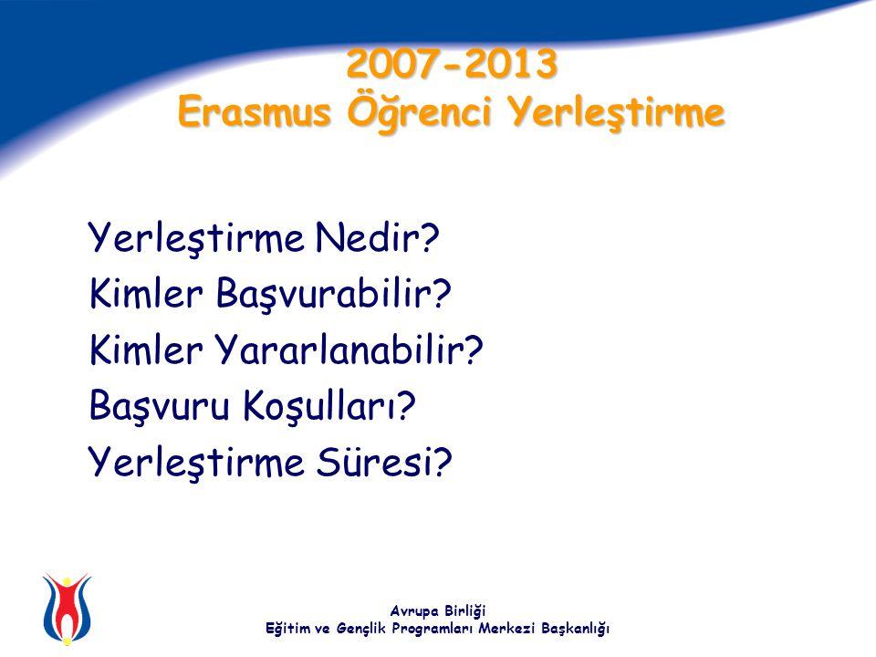 Avrupa Birliği Eğitim ve Gençlik Programları Merkezi Başkanlığı 2007-2013 Erasmus Öğrenci Yerleştirme Yerleştirme Nedir.
