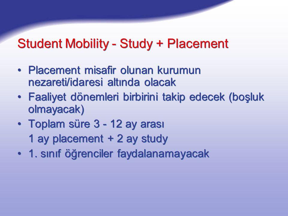 Student Mobility - Study + Placement Placement misafir olunan kurumun nezareti/idaresi altında olacak Faaliyet dönemleri birbirini takip edecek (boşluk olmayacak) Toplam süre 3 - 12 ay arası 1 ay placement + 2 ay study 1.