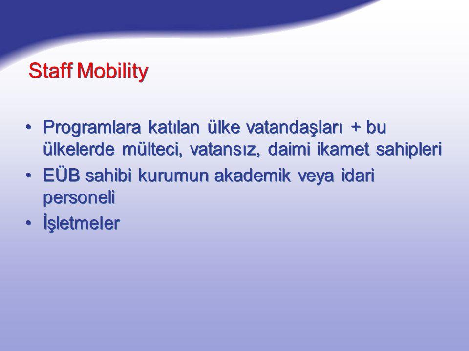Staff Mobility Programlara katılan ülke vatandaşları + bu ülkelerde mülteci, vatansız, daimi ikamet sahipleri EÜB sahibi kurumun akademik veya idari personeli İşletmeler Programlara katılan ülke vatandaşları + bu ülkelerde mülteci, vatansız, daimi ikamet sahipleri EÜB sahibi kurumun akademik veya idari personeli İşletmeler