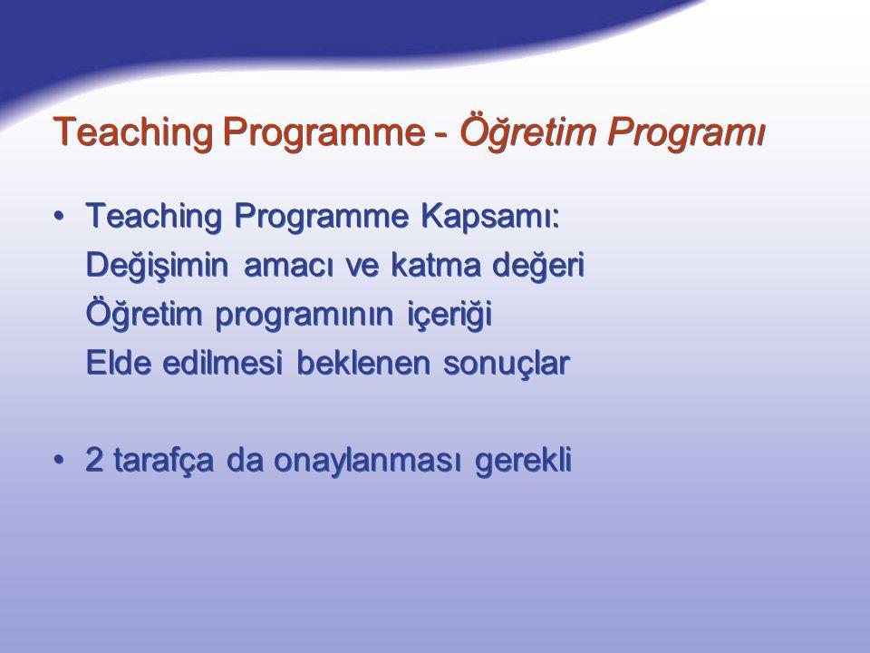 Teaching Programme Kapsamı: Değişimin amacı ve katma değeri Öğretim programının içeriği Elde edilmesi beklenen sonuçlar 2 tarafça da onaylanması gerekli Teaching Programme Kapsamı: Değişimin amacı ve katma değeri Öğretim programının içeriği Elde edilmesi beklenen sonuçlar 2 tarafça da onaylanması gerekli Teaching Programme - Öğretim Programı
