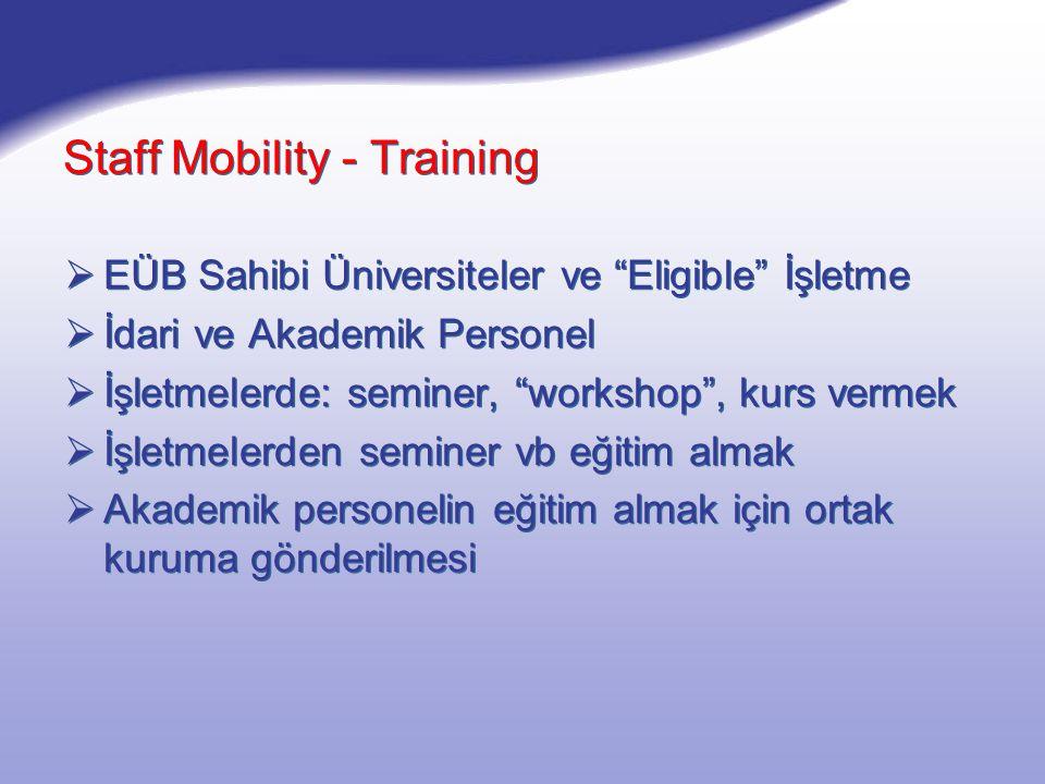 Staff Mobility - Training  EÜB Sahibi Üniversiteler ve Eligible İşletme  İdari ve Akademik Personel  İşletmelerde: seminer, workshop , kurs vermek  İşletmelerden seminer vb eğitim almak  Akademik personelin eğitim almak için ortak kuruma gönderilmesi  EÜB Sahibi Üniversiteler ve Eligible İşletme  İdari ve Akademik Personel  İşletmelerde: seminer, workshop , kurs vermek  İşletmelerden seminer vb eğitim almak  Akademik personelin eğitim almak için ortak kuruma gönderilmesi