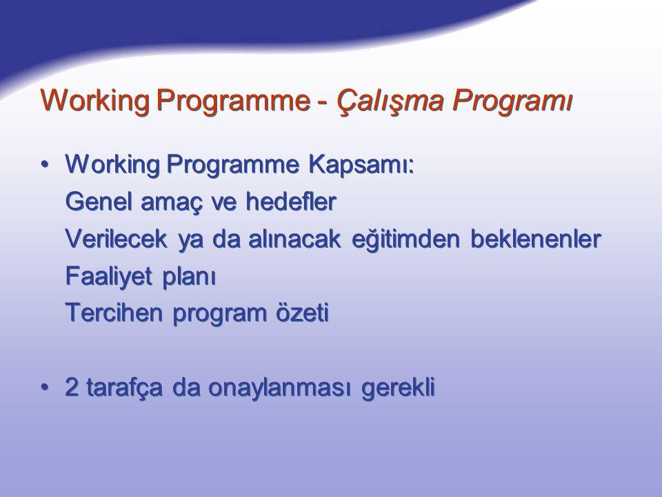 Working Programme Kapsamı: Genel amaç ve hedefler Verilecek ya da alınacak eğitimden beklenenler Faaliyet planı Tercihen program özeti 2 tarafça da onaylanması gerekli Working Programme Kapsamı: Genel amaç ve hedefler Verilecek ya da alınacak eğitimden beklenenler Faaliyet planı Tercihen program özeti 2 tarafça da onaylanması gerekli Working Programme - Çalışma Programı
