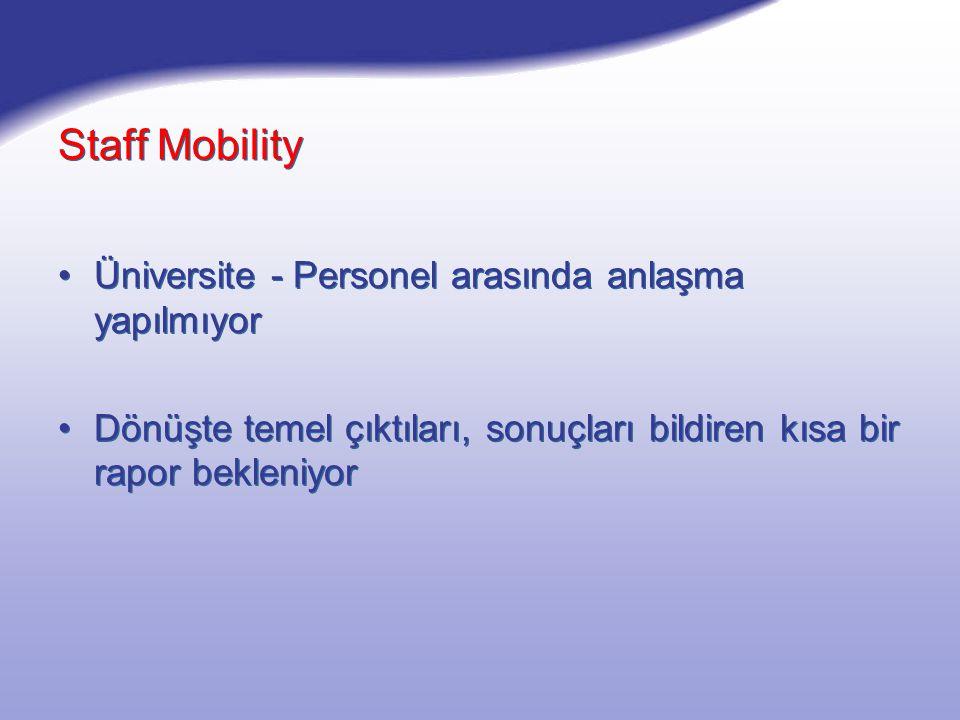 Staff Mobility Üniversite - Personel arasında anlaşma yapılmıyor Dönüşte temel çıktıları, sonuçları bildiren kısa bir rapor bekleniyor Üniversite - Personel arasında anlaşma yapılmıyor Dönüşte temel çıktıları, sonuçları bildiren kısa bir rapor bekleniyor