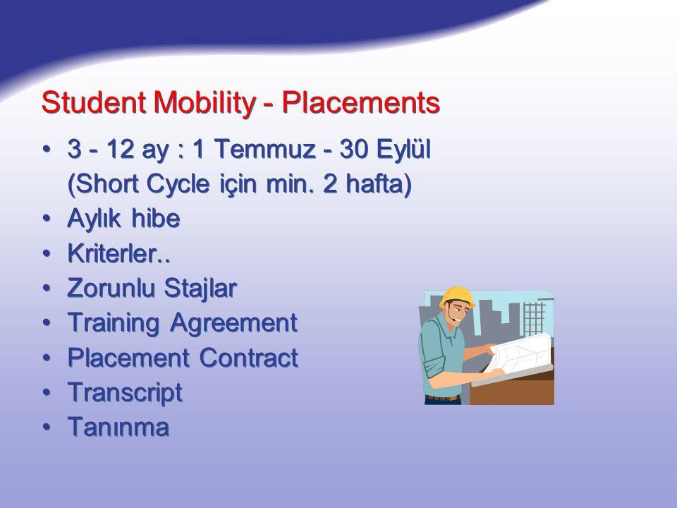 Student Mobility - Placements 3 - 12 ay : 1 Temmuz - 30 Eylül (Short Cycle için min.