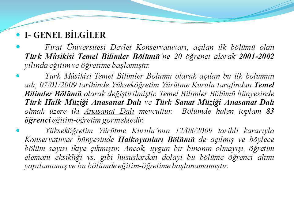 I- GENEL BİLGİLER Fırat Üniversitesi Devlet Konservatuvarı, açılan ilk bölümü olan Türk Mûsikisi Temel Bilimler Bölümü'ne 20 öğrenci alarak 2001-2002 yılında eğitim ve öğretime başlamıştır.