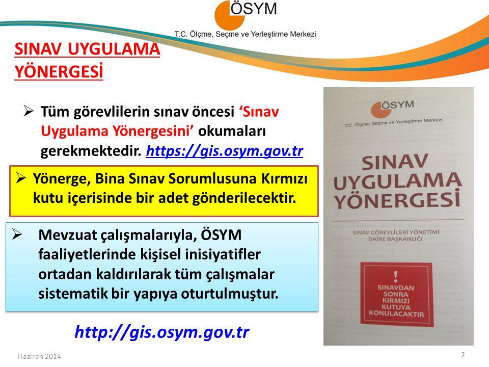 BSS GÖREV, YETKİ VE SORUMLULUKLARI Bina Sınav Tutanağı-1 Haziran 2014 13  Bina Sınav Sorumlusunun doldurması gereken tutanaktır.