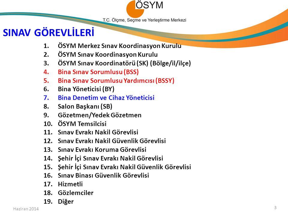 ÖSYM Bina Sınav Sorumlusu Eğitimi 09-13 Haziran 2014 LYS-4-1-5 16-20 Haziran 2014 LYS-2-3 Bölüm-4 LYS-1-2-3-4-5 Haziran 2014 104