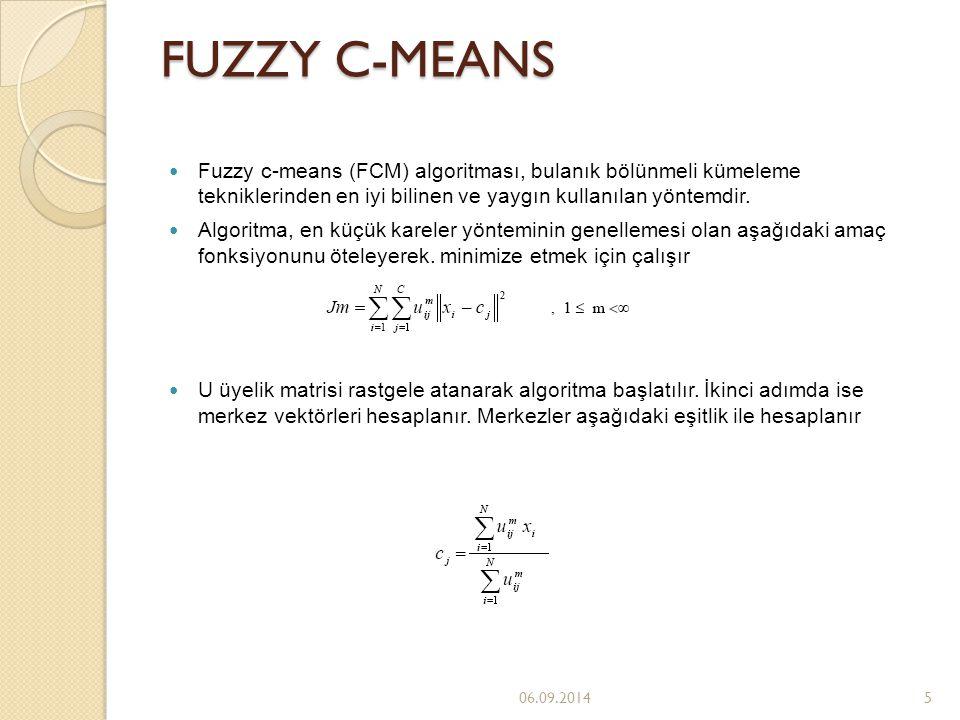 FUZZY C-MEANS Fuzzy c-means (FCM) algoritması, bulanık bölünmeli kümeleme tekniklerinden en iyi bilinen ve yaygın kullanılan yöntemdir.