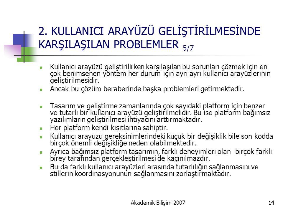 Akademik Bilişim 200714 2. KULLANICI ARAYÜZÜ GELİŞTİRİLMESİNDE KARŞILAŞILAN PROBLEMLER 5/7 Kullanıcı arayüzü geliştirilirken karşılaşılan bu sorunları