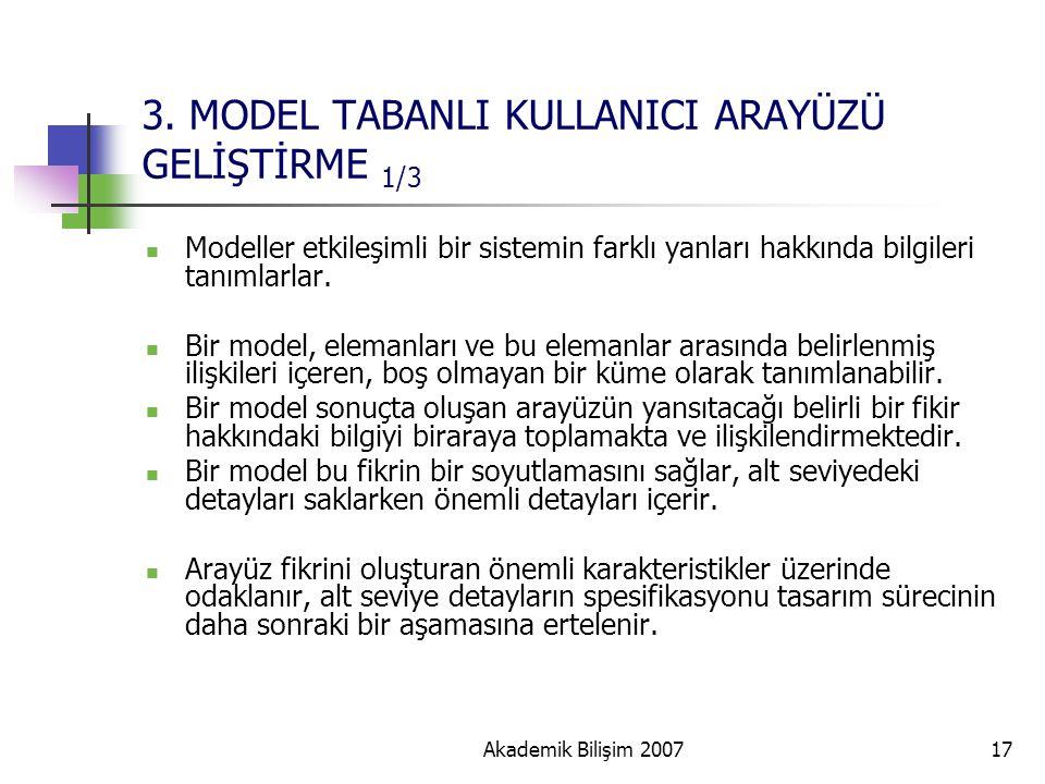 Akademik Bilişim 200717 3. MODEL TABANLI KULLANICI ARAYÜZÜ GELİŞTİRME 1/3 Modeller etkileşimli bir sistemin farklı yanları hakkında bilgileri tanımlar