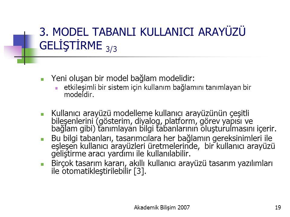 Akademik Bilişim 200719 3. MODEL TABANLI KULLANICI ARAYÜZÜ GELİŞTİRME 3/3 Yeni oluşan bir model bağlam modelidir: etkileşimli bir sistem için kullanım