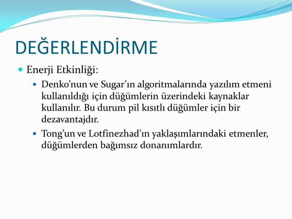 DEĞERLENDİRME Enerji Etkinliği: Denko'nun ve Sugar'ın algoritmalarında yazılım etmeni kullanıldığı için düğümlerin üzerindeki kaynaklar kullanılır. Bu