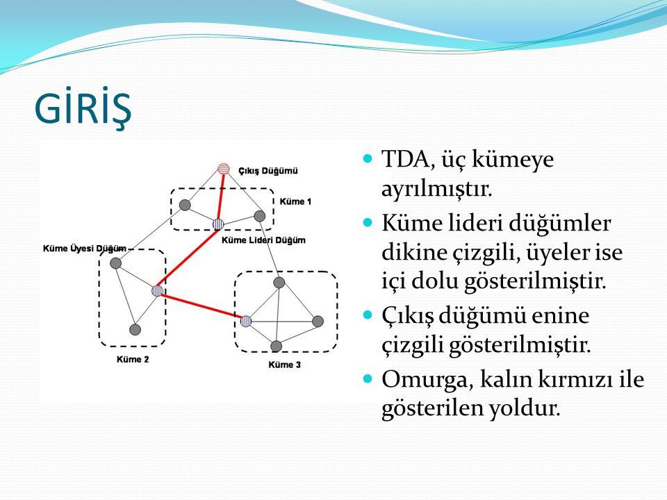 GİRİŞ TDA, üç kümeye ayrılmıştır. Küme lideri düğümler dikine çizgili, üyeler ise içi dolu gösterilmiştir. Çıkış düğümü enine çizgili gösterilmiştir.