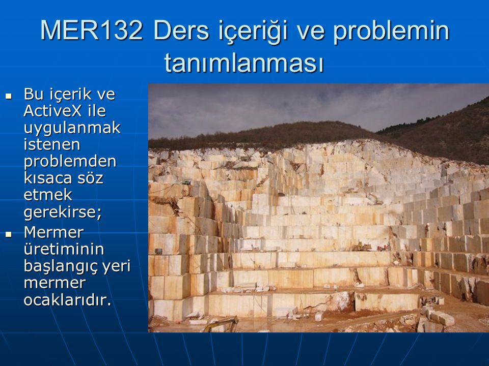 MER132 Ders içeriği ve problemin tanımlanması Bu içerik ve ActiveX ile uygulanmak istenen problemden kısaca söz etmek gerekirse; Bu içerik ve ActiveX ile uygulanmak istenen problemden kısaca söz etmek gerekirse; Mermer üretiminin başlangıç yeri mermer ocaklarıdır.