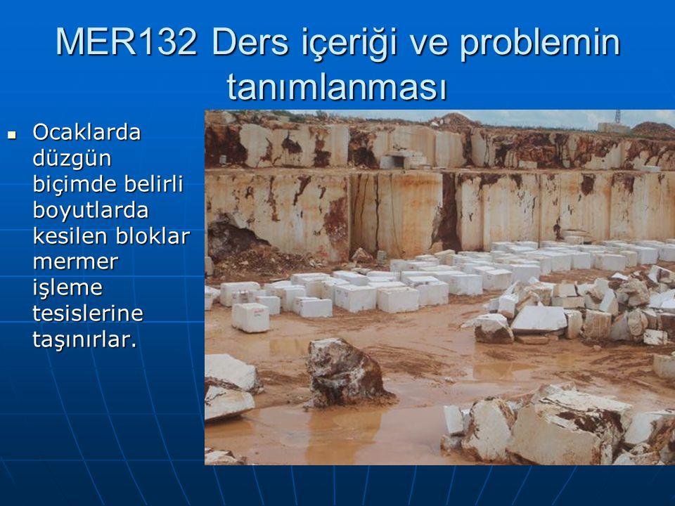 MER132 Ders içeriği ve problemin tanımlanması Ocaklarda düzgün biçimde belirli boyutlarda kesilen bloklar mermer işleme tesislerine taşınırlar.