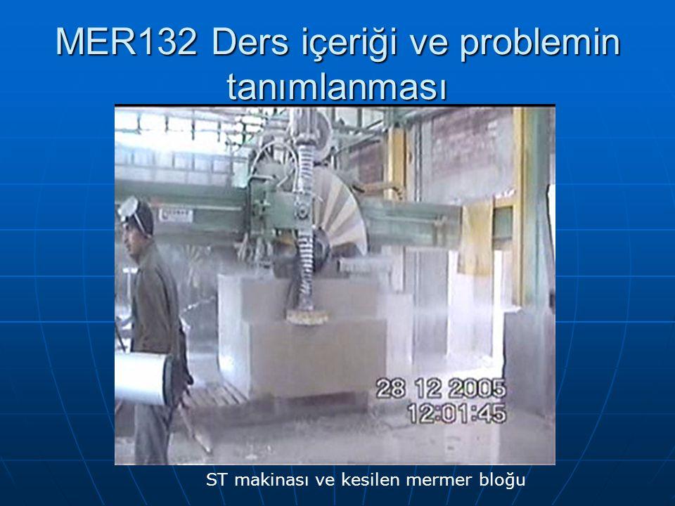 MER132 Ders içeriği ve problemin tanımlanması ST makinası ve kesilen mermer bloğu