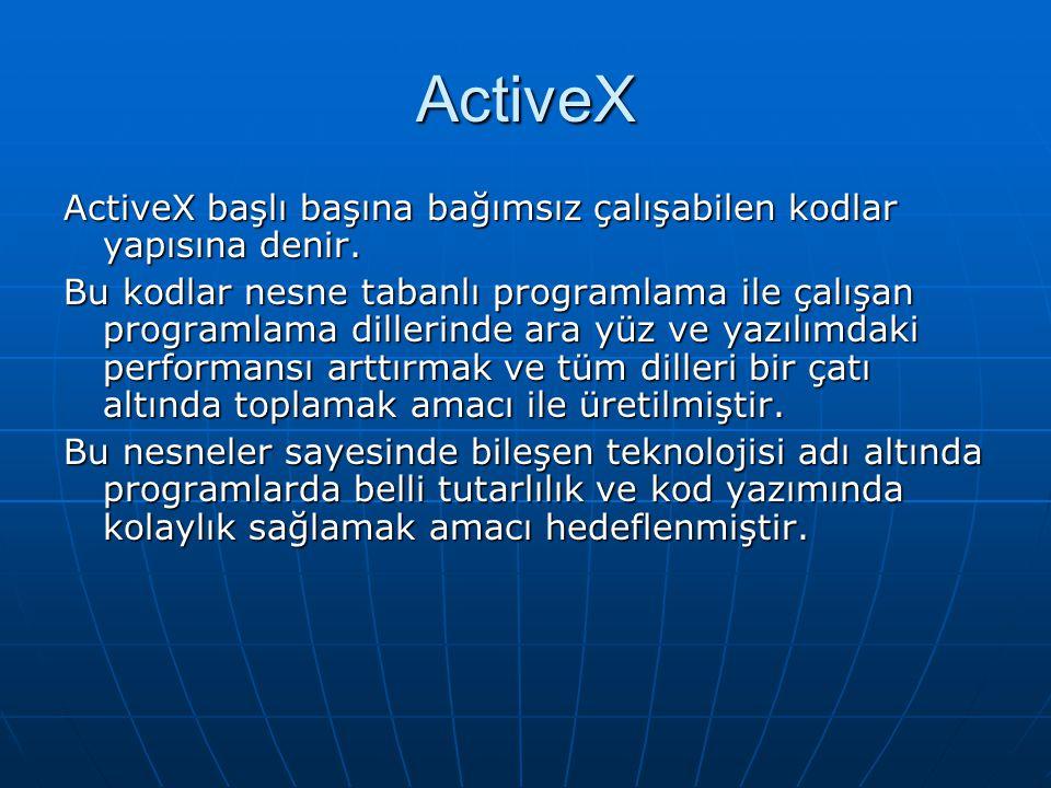 ActiveX ActiveX başlı başına bağımsız çalışabilen kodlar yapısına denir.
