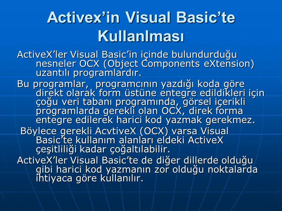 Activex'in Visual Basic'te Kullanlması ActiveX'ler Visual Basic'in içinde bulundurduğu nesneler OCX (Object Components eXtension) uzantılı programlardır.