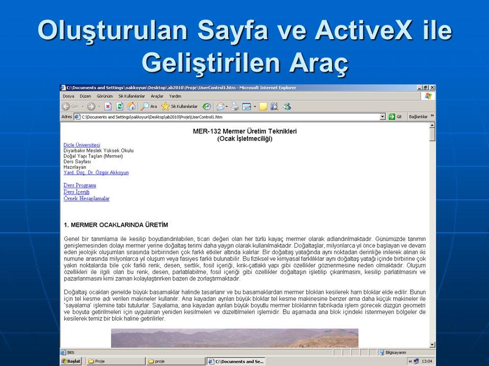 Oluşturulan Sayfa ve ActiveX ile Geliştirilen Araç