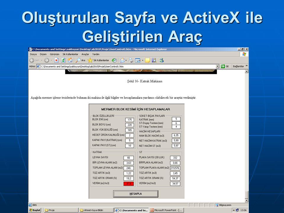 Sonuçlar Bu çalışmada activeX kullanılarak eğitsel bir ders sayfası tasarlanmıştır.