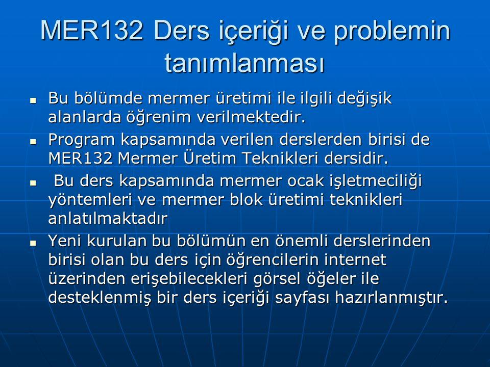 MER132 Ders içeriği ve problemin tanımlanması Bu bölümde mermer üretimi ile ilgili değişik alanlarda öğrenim verilmektedir.