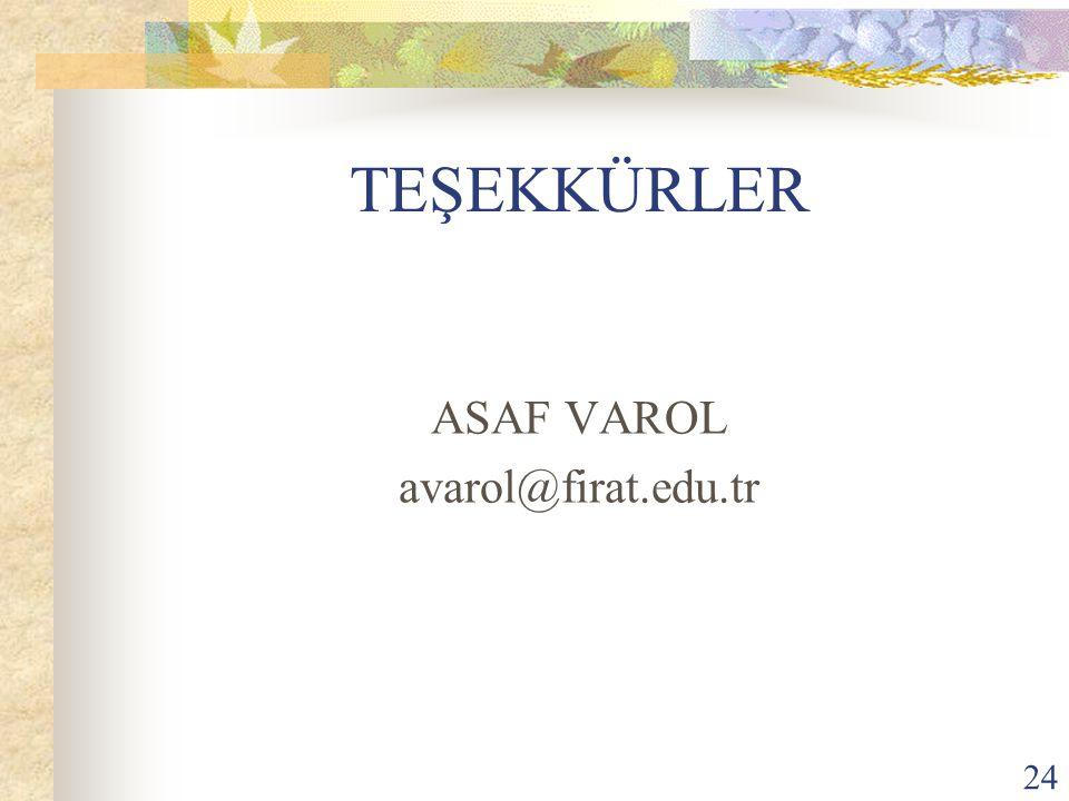 24 TEŞEKKÜRLER ASAF VAROL avarol@firat.edu.tr