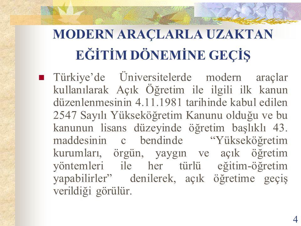 4 MODERN ARAÇLARLA UZAKTAN EĞİTİM DÖNEMİNE GEÇİŞ Türkiye'de Üniversitelerde modern araçlar kullanılarak Açık Öğretim ile ilgili ilk kanun düzenlenmesinin 4.11.1981 tarihinde kabul edilen 2547 Sayılı Yükseköğretim Kanunu olduğu ve bu kanunun lisans düzeyinde öğretim başlıklı 43.