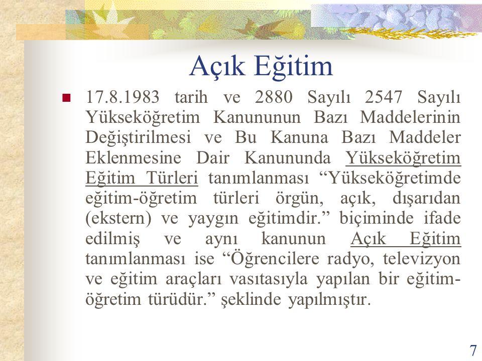 7 Açık Eğitim 17.8.1983 tarih ve 2880 Sayılı 2547 Sayılı Yükseköğretim Kanununun Bazı Maddelerinin Değiştirilmesi ve Bu Kanuna Bazı Maddeler Eklenmesi