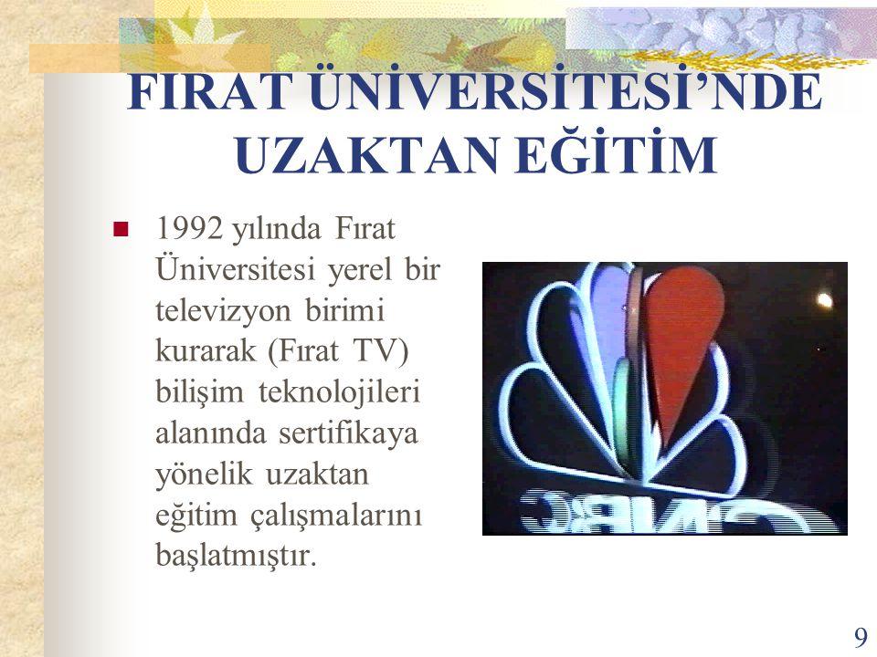 9 FIRAT ÜNİVERSİTESİ'NDE UZAKTAN EĞİTİM 1992 yılında Fırat Üniversitesi yerel bir televizyon birimi kurarak (Fırat TV) bilişim teknolojileri alanında sertifikaya yönelik uzaktan eğitim çalışmalarını başlatmıştır.