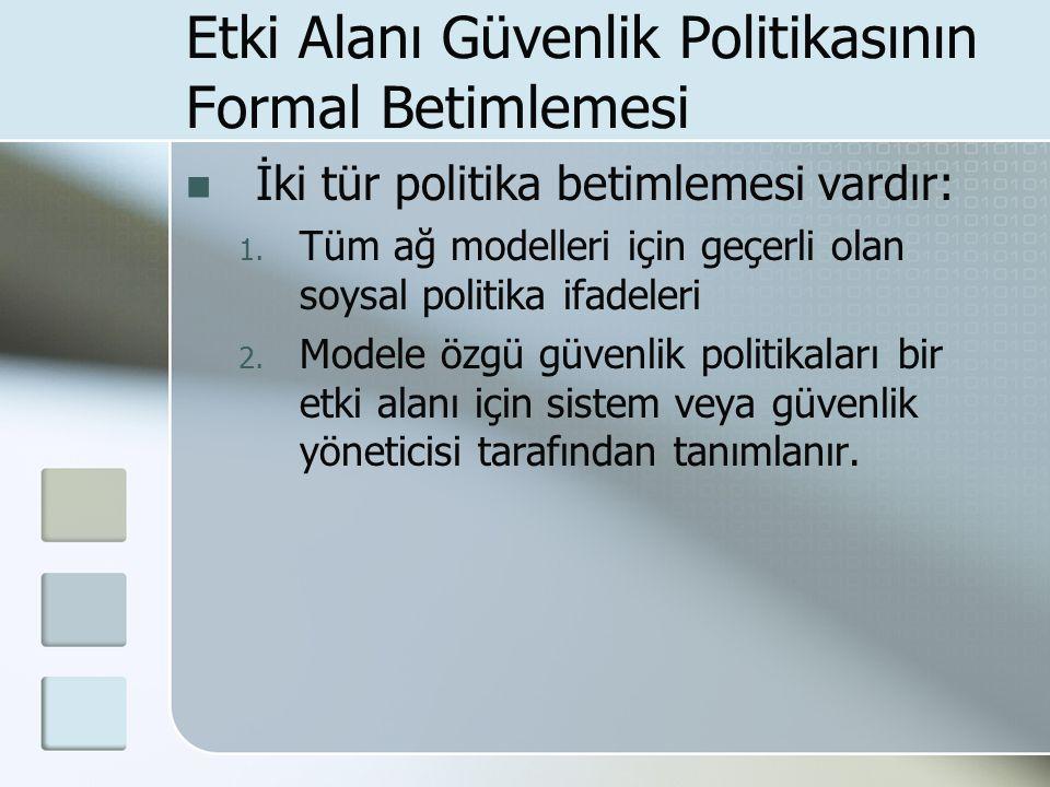 Etki Alanı Güvenlik Politikasının Formal Betimlemesi İki tür politika betimlemesi vardır: 1.