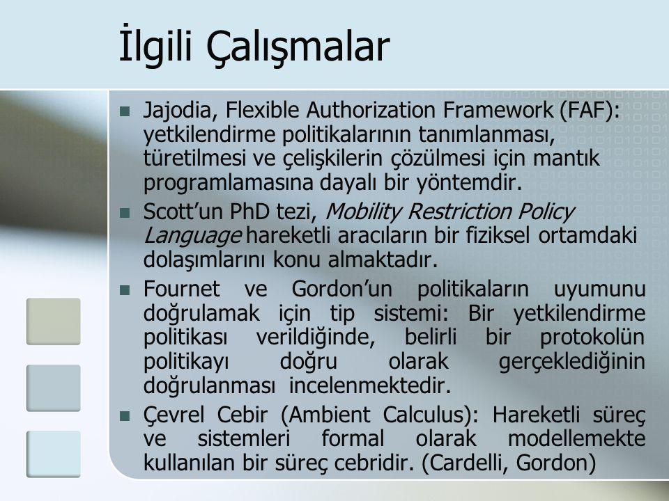 İlgili Çalışmalar Jajodia, Flexible Authorization Framework (FAF): yetkilendirme politikalarının tanımlanması, türetilmesi ve çelişkilerin çözülmesi için mantık programlamasına dayalı bir yöntemdir.