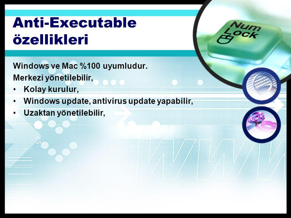 Anti-Executable özellikleri Windows ve Mac %100 uyumludur.
