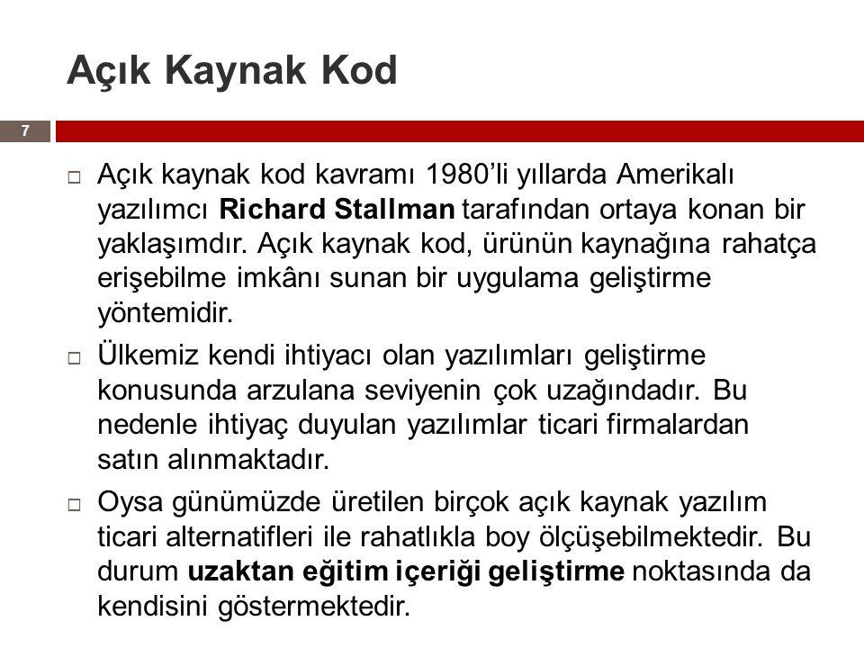 Açık Kaynak Kod  Açık kaynak kod kavramı 1980'li yıllarda Amerikalı yazılımcı Richard Stallman tarafından ortaya konan bir yaklaşımdır.