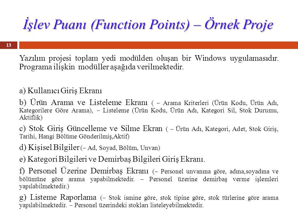 İşlev Puanı (Function Points) – Örnek Proje Yazılım projesi toplam yedi modülden oluşan bir Windows uygulamasıdır.