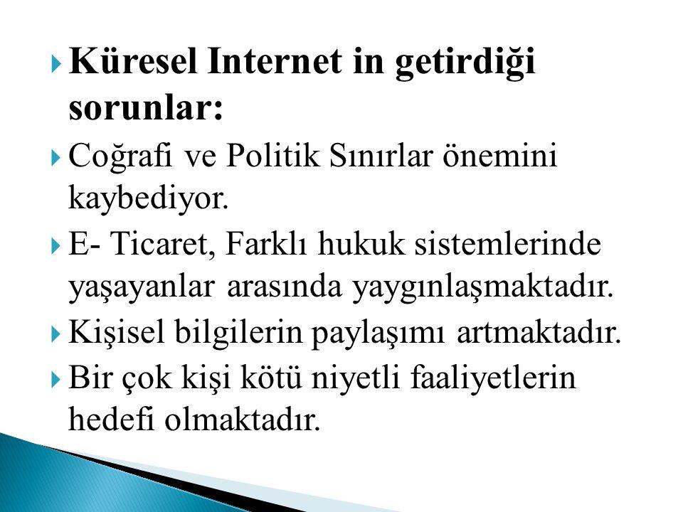  Küresel Internet in getirdiği sorunlar:  Coğrafi ve Politik Sınırlar önemini kaybediyor.  E- Ticaret, Farklı hukuk sistemlerinde yaşayanlar arasın