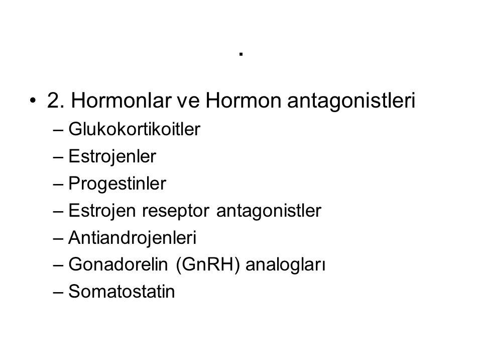 . 2. Hormonlar ve Hormon antagonistleri –Glukokortikoitler –Estrojenler –Progestinler –Estrojen reseptor antagonistler –Antiandrojenleri –Gonadorelin