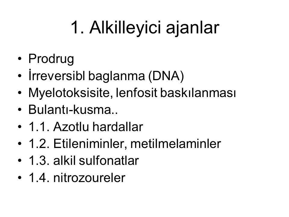 1. Alkilleyici ajanlar Prodrug İrreversibl baglanma (DNA) Myelotoksisite, lenfosit baskılanması Bulantı-kusma.. 1.1. Azotlu hardallar 1.2. Etileniminl
