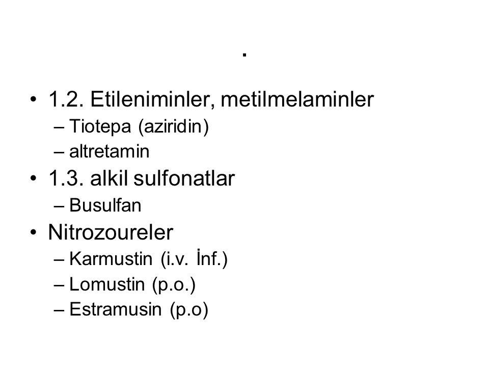 . 1.2. Etileniminler, metilmelaminler –Tiotepa (aziridin) –altretamin 1.3. alkil sulfonatlar –Busulfan Nitrozoureler –Karmustin (i.v. İnf.) –Lomustin