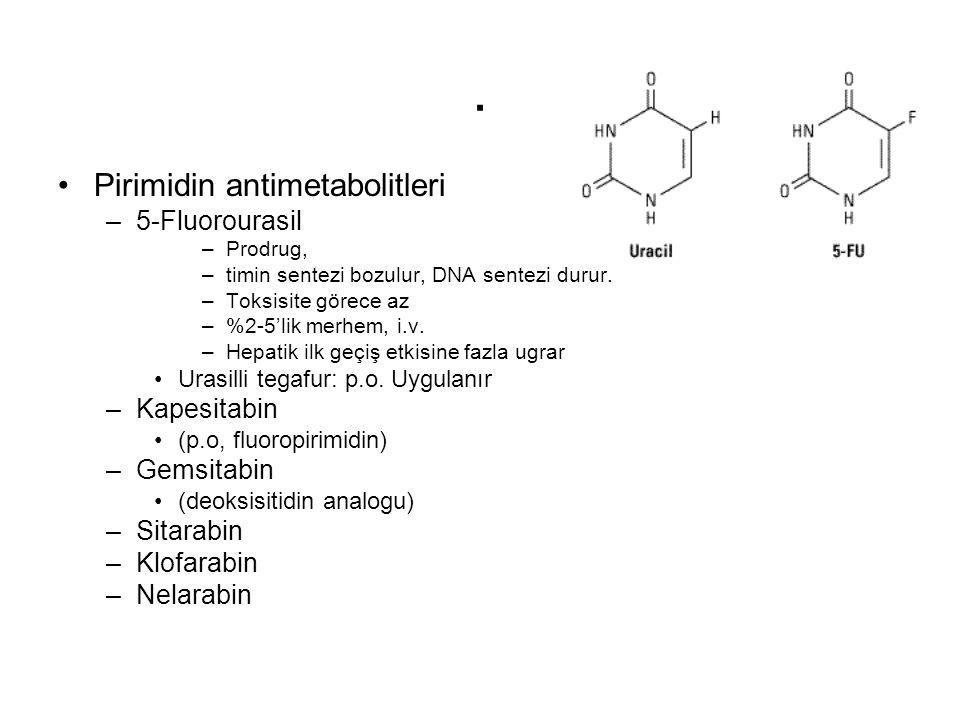 . Pirimidin antimetabolitleri –5-Fluorourasil –Prodrug, –timin sentezi bozulur, DNA sentezi durur. –Toksisite görece az –%2-5'lik merhem, i.v. –Hepati